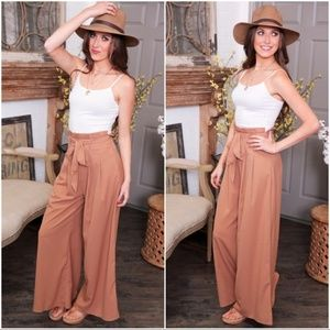 LAST PAIR! Camel Wide Leg Pants with Belt
